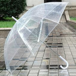Large Transparent Clear Dome See Through Umbrella With White