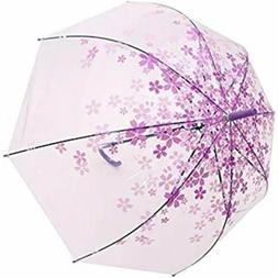 Transparent Clear Rain Umbrella Cherry Blossom Pattern w/ 8
