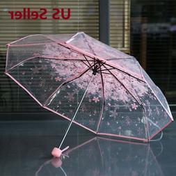 Transparent Clear Umbrella Cherry Blossom  Sakura 3 Fold Rom