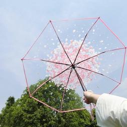 Transparent Clear Umbrella For Women Sakura Floral Pattern E