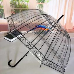 Transparent Long-handle Rain Umbrella Women Kids Parasol Rai