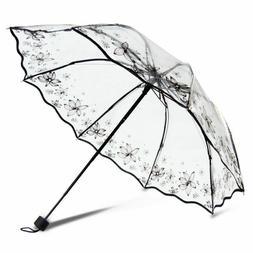 Transparent Parasol Thicken Umbrellas Manual Three-Folding A