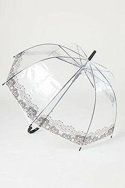 transparent umbrella with lace print