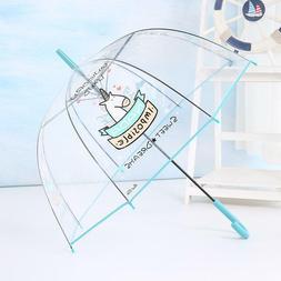 Transparent Unicorn Umbrella Kids Clear Rain Parasol Japanes