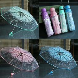 Folding Anti-UV Sun Rain Transparent Umbrella Parasols Windp
