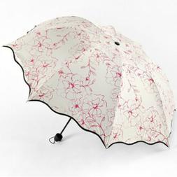 Triple Folding Sun Rain Umbrella Travel Parasol Floral Porta