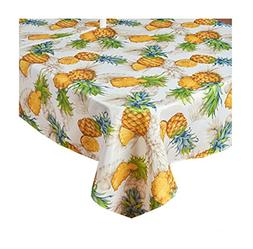 Benson Mills Tropical Pineapple Umbrella Tablecloth with Hol