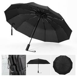 Umbrel12 Ribs Windproof Travel Umbrella Large Compact Automa