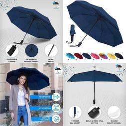 Rain-Mate Travel Umbrella - Windproof, Reinforced Canopy, Er