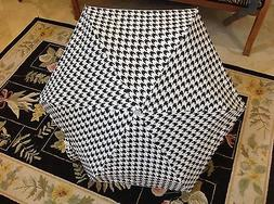 SHEDRAIN  MINI UMBRELLA BLACK WHITE HOUNDSTOOTH MANUAL OPEN