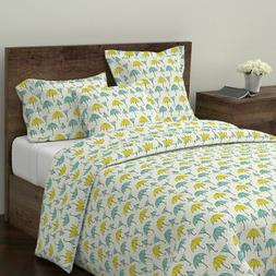 Umbrella Blue Green Yellow Umbrella Umbrella Sateen Duvet Co