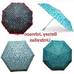 Betsey Johnson Umbrella Portable Compact Windproof  Aqua Bla