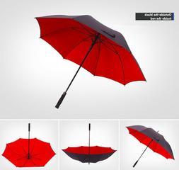 Umbrella Rain Double Layer Semi Automatic Umbrella Windproof