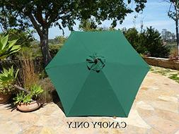 9ft Umbrella Replacement Canopy 6 Ribs in Green