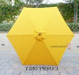 9ft Umbrella Replacement Canopy 6 Ribs in Yellow Olefin