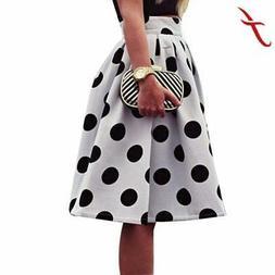 Umbrella Skirt for Women White & Black Polka Dot Retro Puff