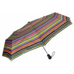 """Totes Umbrella Stripes Auto Open 42"""" Rain Sun Travel Compact"""