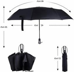 Umbrella Windproof Travel Compact Automatic Open Close Reinf