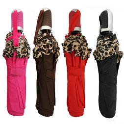 Umbrella Woman Leopard Folding Small Automatic Red Black Bro