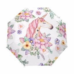 Unicorn Umbrella Women Windproof Automatic Floral Teens Girl