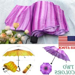 US Anti-UV Sun Rain Umbrella Parasol Protection Windproof Fl