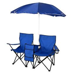 US Folding Fishing Picnic Beach Chair w/Umbrella Table&2 Cam