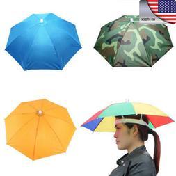 US UNISEX Umbrella Hat Rain Raining Cover Heat Adjustable Co