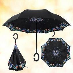 US Upside Down Inverted C-handle Umbrella Double Layer Windp