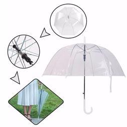 US White Clear Transparent Rain Umbrella Automatic Dome Wedd