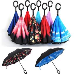 USA Double Layer Upside Down Inverted Umbrella C-handle Reve