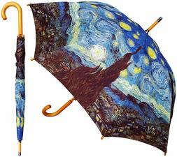 "48"" Van Gogh Starry Night Auto-Open Umbrella -RainStoppers R"