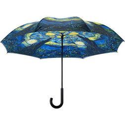 Galleria Van Gogh Starry Night Reverse Close Umbrella Umbrel