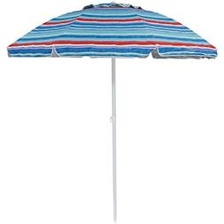 Sunnydaze 6-Foot Vented Beach Umbrella with Tilt Function an