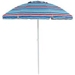 Sunnydaze 6-Foot Vented Beach Umbrella with Tilt Function an