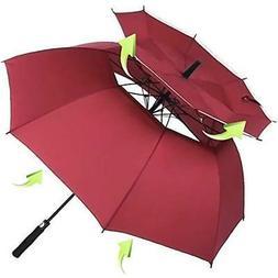 Vented Golf Umbrellas Sun - Windproof Large 62 Inch Double C