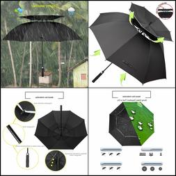 Windproof Umbrella 62 inch Large Rain Double Canopy Automati