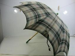 Vintage Child's Green Plaid Umbrella