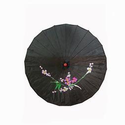 Vintage Oriental Folding Black Wedding Party Nylon Bamboo Um