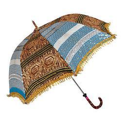 Vintage Sequin Work Sun Protection Silk Multi Umbrella For W