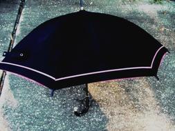 VTGE YSL PARIS UMBRELLA BIG DOUBLE LAYERS BLACK/ ROSES CLEAR