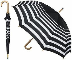 RainStoppers W043 Auto Open Striped Arc Umbrella with Hook H