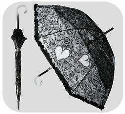 RainStoppers W3466 Auto Open Plastic Lace Print Arc Umbrella
