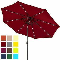Water & UV Resistant Solar LED Patio Umbrella w/ Durable Alu