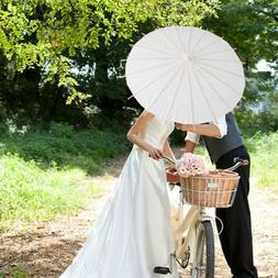 White Paper Parasol Umbrella Wedding Bridal Party Photo Phot