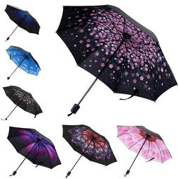 Windproof 50+ Anti-UV Sun Rain Protection Umbrella Flower Pa