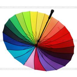 Windproof Anti-UV Rainbow Multi-color Umbrella Sun/Rain Para