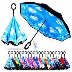 windproof double layer folding inverted umbrella protection
