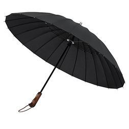 Plemo Windproof Stick Umbrella, Wood Handle Waterproof Cloth