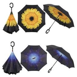 Windproof Upside Down Reverse- Umbrella C-Handle Double Laye