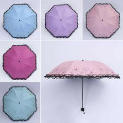 Woman's Lace Heart Anti UV Sun Rain Umbrella Parasol Windpro